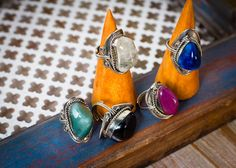 Beautiful stone rings, handmade in Peru. #earthboundtrading