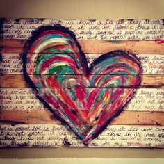 Pallet art- I could let kiddos help with painting heart. and I could do the writing of 1 Corinthians LOVE passage! I'm thinking yes! by Maria Malding Pallet Crafts, Pallet Projects, Wood Crafts, Craft Projects, Diy Crafts, Pallet Ideas, Pallet Painting, Pallet Art, Pallet Signs