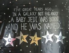 Star Wars Party Wall Decor (made with black wrapping paper, star stickers, and silver sharpie) - Crafty Party