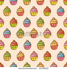 #vintage #cupcake #pattern - stock vector  #design #graphic #vector #illustration #background
