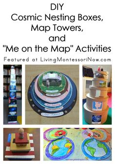 "Cosmic nesting cubes, map towers, and ""Me on the Map"" activities to help young children gain a better understanding of their place in the world - Living Montessori Now Continents Activities, Geography Activities, Geography For Kids, Kindergarten Activities, Educational Activities, Montessori Science, Montessori Classroom, Montessori Elementary, Preschool Themes"