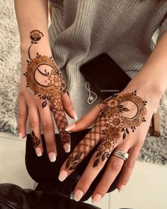 Image may contain: one or more people, ring and closeup - Tattoos - Henna Designs Hand Indian Henna Designs, Floral Henna Designs, Latest Arabic Mehndi Designs, Henna Designs Feet, Finger Henna Designs, Mehndi Designs For Girls, Modern Mehndi Designs, Mehndi Design Pictures, Mehndi Designs For Fingers
