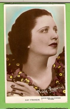 Details about  #F. MOVIE FAN POSTCARD - KAY FRANCIS