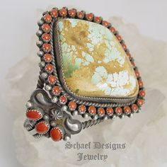 Nelvin Burbank Large Royston turquoise, Mediterranean Coral & sterling silver cuff bracelet | New Mexico