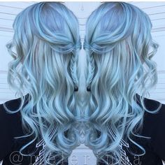 Ethereal Baby Blue hair color and sexy boho style by @melerinaa #hotonbeauty