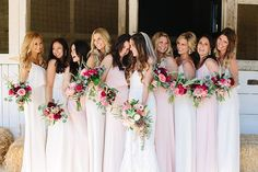 Pink bridesmaid dresses | Photo by Joielala | Read more -  http://www.100layercake.com/blog/?p=73648
