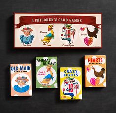 Children's Card Games | Four classic resissues from the '50s and '60s. Includes Crazy Eights, Animal Rummy, and Old Maid. $10.49 Restoration Hardware