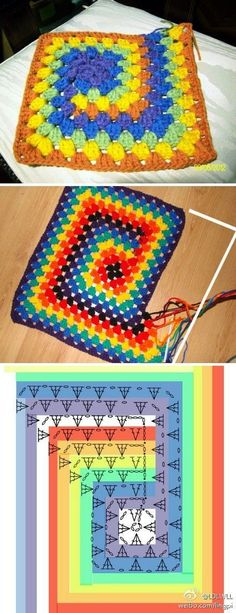 ideas for knitting projects blanket granny squares crochet patterns ide. ideas for knitting projects blanket granny squares crochet patterns ide… ideas for Point Granny Au Crochet, Granny Square Crochet Pattern, Crochet Diagram, Crochet Chart, Crochet Blanket Patterns, Crochet Motif, Crochet Stitches, Crochet Baby, Knitting Patterns