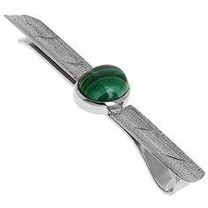 Clip Tie Pin for Men Jewellery Indian Handmade in Silver and Malachite Gemstone ShalinIndia http://www.amazon.in/dp/B00MYSPZ1K/ref=cm_sw_r_pi_dp_DEyaub12QMTXR