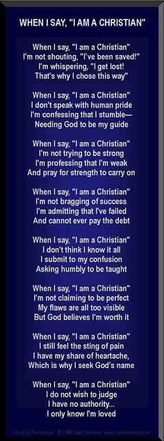 When I say I am a Christian poem on deep navy More