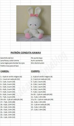 Amigurumi Kawaii Bunny - FREE Crochet Pattern / Tutorial in Spanish: : Amigurum. : Amigurumi Kawaii Bunny – FREE Crochet Pattern / Tutorial in Spanish: : Amigurumi Kawaii Bunny – FREE Crochet Pattern / Tutorial in Spanish: Crochet Bunny Pattern, Easter Crochet Patterns, Crochet Rabbit, Crochet Amigurumi Free Patterns, Crochet Bear, Crochet Dolls, Free Crochet, Crochet Lace, Knit Christmas Ornaments