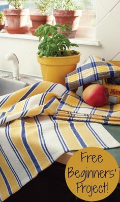 Playing With Stripes Kitchen Towels. Almost nothing is as satisfying as weaving dish towels! You'll find these towels easy and fun to weave and a pleasure to use. Made with Aurora Earth unmercerized cotton. Loom Weaving, Hand Weaving, Navajo Weaving, Dish Towels, Tea Towels, Yarn Display, Types Of Weaving, Cotton Clouds, Weaving Projects