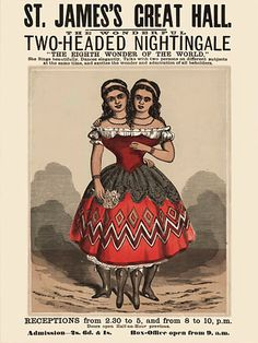 Two-Headed Woman Vintage Sideshow & Circus Posters & Prints