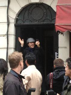 Sherlock, 4/10/2013. Benedict Cumberbatch shooting Sherlock series 3: The Empty Hearse