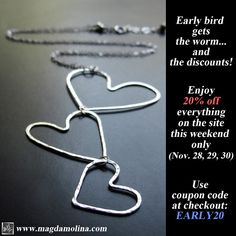 Delicate hammered silver hearts necklace. Unique women & children conscious jewelry handcrafted with love. Perfect meaningful gift for the people close to your heart.  http://magdamolina.com/   #gift #holiday #holidays #fashion #blogger #style #conscious #healing #stones #handcrafted #sale #blackfriday