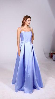 MACloth Spaghetti Straps Long Satin Prom Dress Sky Blue Formal Evening Gown #blue #skyblue #homecoming #hocodress #dress #gown #prom #prom2019 #promdress #promgown #hautecouture #eveingdress #eveninggown #wedding #bridal #Couturefashion #vestido #novias Hoco Dresses, Strapless Dress Formal, Blue Dresses, Dresses With Sleeves, Formal Dresses, Couture Fashion, Spaghetti Straps, Evening Gowns, Homecoming