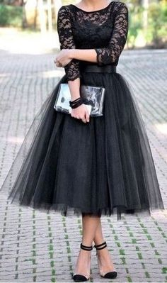 #spring #casual #outfits #inspiration | Black lace top + black tulle skirt