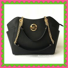 "Authentic Michael Kors Leather Chain Handbag % AUTHENTIC✨ Beautiful large shoulder chain black leather handbag from Michael Kors Lightweight and very spacious. Approximate measurements: Length 14"" Height 10"" Width 4"" Strap drop 10"" Zipper top closure. Exterior side compartments. 5 interior pockets. Yellow gold tone hardware! STUNNING NO TRADE  Michael Kors Bags Totes"