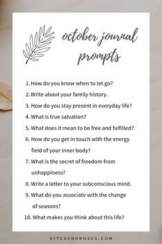 October Journal Prompts are here to guide you in the journal writing process Writing Challenge, Writing Tips, Writing Process, Writing Workshop, Kids Writing, Love Journal, Journal Ideas, Journal Inspiration, Journal Questions