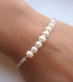 Freshwater Pearls Row bracelet. Bridal. Wedding. Bridesmaids Gift. Everyday Wear.. $28.00, via Etsy.
