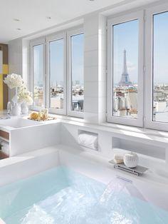 Dream Bathrooms, Beautiful Bathrooms, Hotel Bathrooms, Luxury Bathrooms, Luxury Hotel Bathroom, Paris Bathroom, White Bathroom, Bathroom Interior, Light Bathroom
