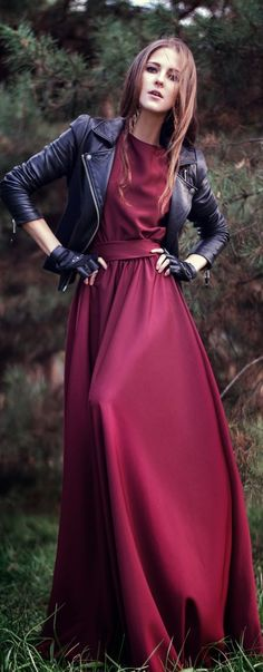 Add a leather moto jacket to your gown for an edgy way to keep warm while all dressed up!