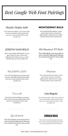 Best Google Web Font Pairings | White Oak Creative #RePin by AT Social Media Marketing - Pinterest Marketing Specialists ATSocialMedia.co.uk