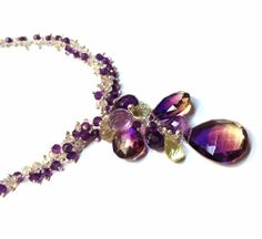 WOW!   Ametrine Lemon Topaz and Amethyst Wisteria Necklace in by YedOmi,