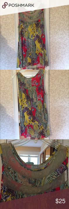 Fun Multicolor Blouse with Lace Detail Fun Funky multicolor Blouse with sheer Lace detail on top. Fun Blouse to dress up simple jeans. Soprano Tops Blouses
