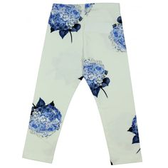 Monnalisa Girl's White Leggings with Blue Flower Print. Available now at www.chocolateclothing.co.uk #childrenswear #minifashion #Monnalisa #chocolateclothing