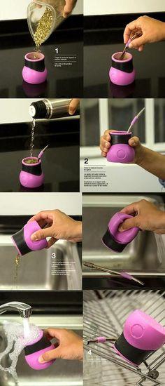 "Yerba Mate ""Mathienzo"" Brand Cup Made of Silicone Bombilla Straw | eBay"