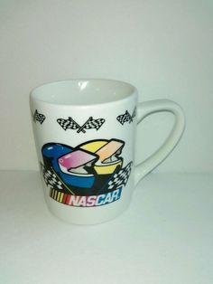 2002 Authentic NASCAR Merchandise Coffee Cup Mug Car Racing Helmets Checkered Fl #ibson