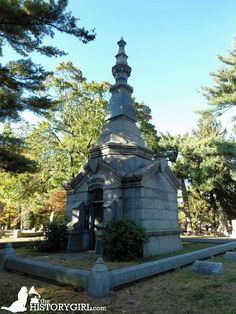 Elmwood Cemetery, established in 1868, spans New Brunswick and North Brunswick, NJ. Elmwood Cemetery was designed as a Victorian Garden Cemetery by the prominent, New Brunswick architect, George Parsell. Mausoleum of Christopher Meyer, a German immigrant who invented the first steam boiler for rubber processing. He helped start the New Brunswick Rubber Company and founded the North British Rubber Company, a forerunner of the Michelin Company. Discover more history @ www.thehistorygirl.com Elmwood Cemetery, North Brunswick, Steam Boiler, Statue Of Liberty, German, British, Victorian, Club
