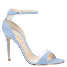 Gianvito Rossi light blue suede sandals with plexi. From shop.wunderl.com