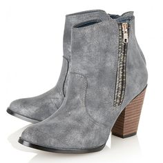 Zip Detail Chelsea Ankle Boots - Blue