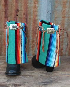 Boot Rugs Josie Collection Green Serape Woven Ankle Boot Rugs are designed to be worn over boot shafts. Great for when the color of your boot shafts don't match your clothes or you want to add some variety. Substantial woven construction trimmed with whip-stitching and a leather toggle tie at the back. One size fits most | Country Chic casual fashion accessories for women Casual Outfits western wear drysdales.com #countryoutfit #countrygirl #CountryFashion gift ladies cowgirl #Winter2015