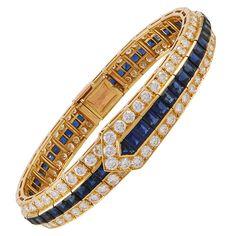 Van Cleef & Arpels Sapphire Diamond Gold Bracelet   From a unique collection of vintage more bracelets at https://www.1stdibs.com/jewelry/bracelets/more-bracelets/
