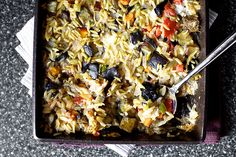 Recipe for baked orzo with eggplant and mozzarella from Smitten Kitchen. I'll bet I could use basmati rice or small brown rice pasta to make this dish gluten-free. Vegetarian Casserole, Vegetarian Recipes, Cooking Recipes, Healthy Recipes, Casserole Recipes, Shrimp Casserole, Veggie Casserole, Cooking Tips, Baked Eggplant