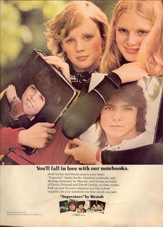 Vintage Back-To-School Ads Show a Much (Much) Different Time, David Cassidy & Donny Osmond.I may have to re-thin David Cassidy with all the hijinx he's been involved with recently. Patti Hansen, Lauren Hutton, Vintage Advertisements, Vintage Ads, Retro Ads, Retro Food, Retro Advertising, Vintage Stuff, Ed Vedder