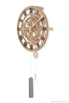 Купить Часы механические настенные - стимпанк, белый, часы, дерево, steampunk, механические часы