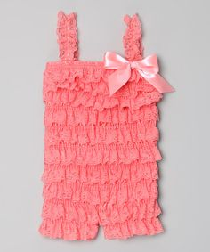 Take a look at this Dark Pink Lace Ruffle Romper - Infant, Toddler & Girls by Hush Little Baby on #zulily today!