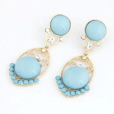 Köp Blå/vit/gul Stud örhängen med 2 stora Cabochons Crystal accenter + Fri Frakt