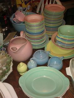 Lu Ray pastel dishes.  -  ( My mother had a set of all blue Lu-Ray dishes she used for everyday use.  I still have the sugar bowl and creamer,1 platter & salt and pepper shaker.