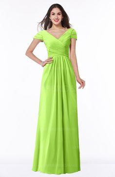 c17552cc61 Bright Green Glamorous A-line Short Sleeve Floor Length Ruching Plus Size Bridesmaid  Dresses on