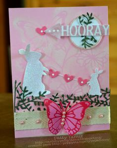 "Beautiful card titled ""hooray"" created by Patty Tanuz a member of the Poppy Stamps Design Team. I love the various dies that she used on this especially the butterfly! This card just says spring with the colors and items used. ♥ Love ♥"