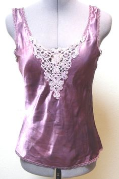 Camisole - Vintage Upcycled Custom Dyed One of a Kind Camisole/Chemise Top Lingerie Silky Fantasy Lace Front