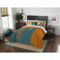 3 Piece NFL Miami Dolphins Applique Full Comforter, Aqua, Orange, White, Marine Blue, Sports Bedding, Football Themed, Featuring Team Logo, Dolphins Merchandise, Team Spirit, Polyester Material //Price: $59.28 & FREE Shipping //     #bedding sets