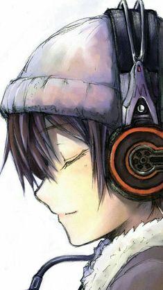 Anime boy, headphones, listening, music, hat; Anime Guys