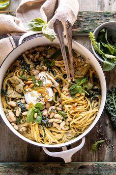 One Pot Creamy Tuscan Pesto and Artichoke Pasta | halfbakedharvest.com #onepot #pasta