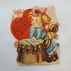 1930s Vintage Valentine's Day Card die cut little girl by KerrysBungalow, $5.00